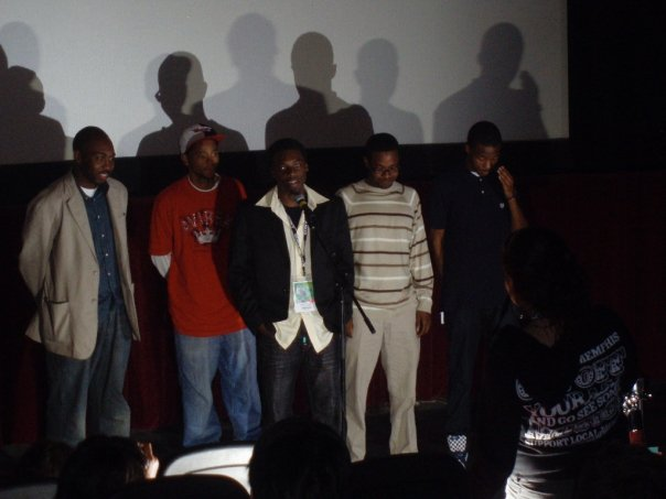 Tarrik, Daniel Price, Ellis Fowler, Dr. Rico, and G-Nerd during Q&A at the Indie Memphis Film festival